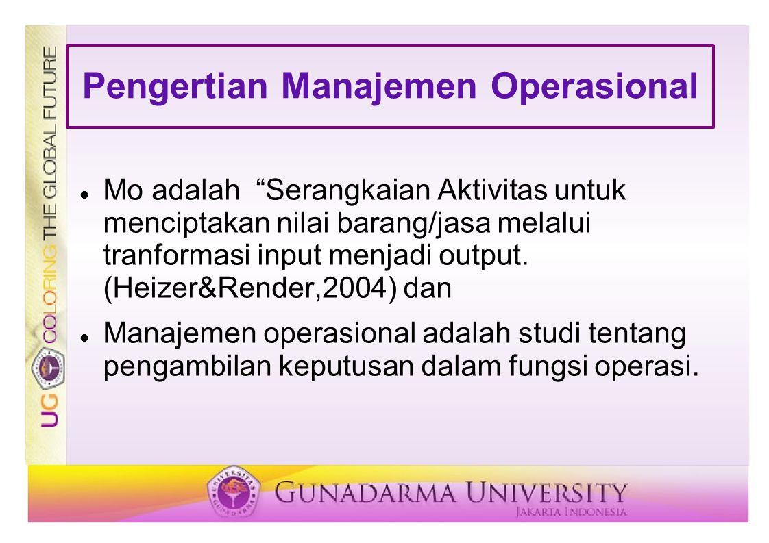 """Pengertian Manajemen Operasional Mo adalah """"Serangkaian Aktivitas untuk menciptakan nilai barang/jasa melalui tranformasi input menjadi output. (Heize"""