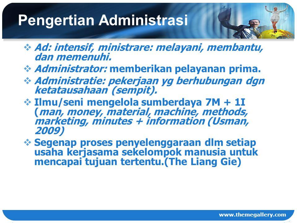 www.themegallery.com Pengertian Administrasi  Ad: intensif, ministrare: melayani, membantu, dan memenuhi.  Administrator: memberikan pelayanan prima