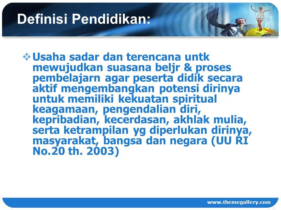 www.themegallery.com Definisi Manajemen Pendidikan:  Seni dan ilmu mengelola sumber daya pendidikan untuk mencapai tujuan pendidikan secara efektif dan efisien (Usman, 2009).