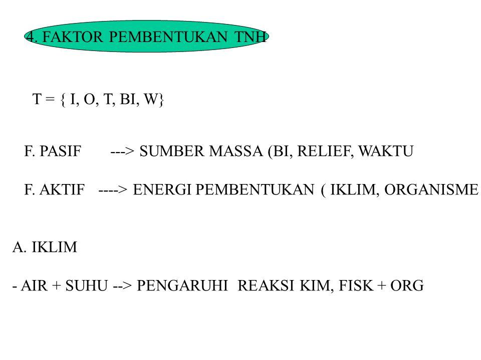 4. FAKTOR PEMBENTUKAN TNH T = { I, O, T, BI, W} F. PASIF ---> SUMBER MASSA (BI, RELIEF, WAKTU F. AKTIF ----> ENERGI PEMBENTUKAN ( IKLIM, ORGANISME A.