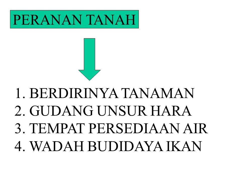 PERANAN TANAH 1. BERDIRINYA TANAMAN 2. GUDANG UNSUR HARA 3. TEMPAT PERSEDIAAN AIR 4. WADAH BUDIDAYA IKAN