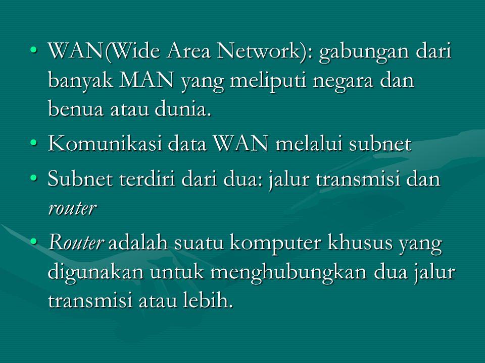 WAN(Wide Area Network): gabungan dari banyak MAN yang meliputi negara dan benua atau dunia.WAN(Wide Area Network): gabungan dari banyak MAN yang melip