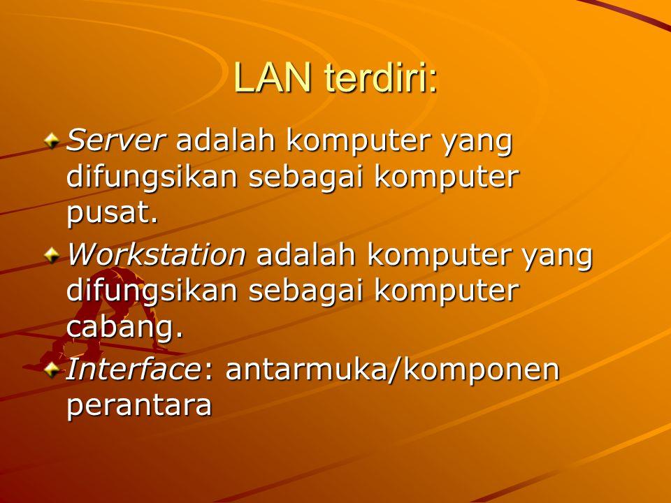 LAN terdiri: Server adalah komputer yang difungsikan sebagai komputer pusat. Workstation adalah komputer yang difungsikan sebagai komputer cabang. Int