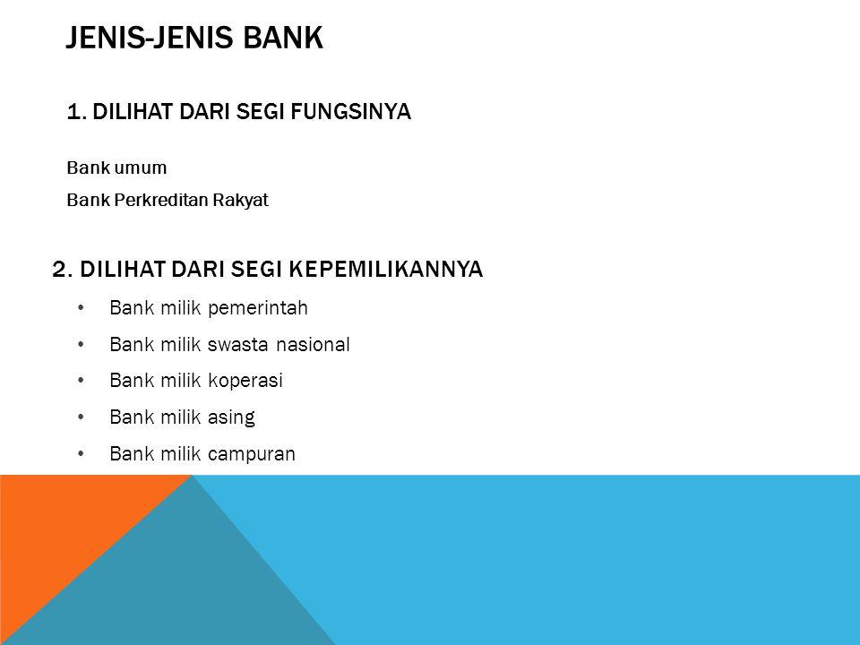 JENIS-JENIS BANK 1.DILIHAT DARI SEGI FUNGSINYA Bank umum Bank Perkreditan Rakyat 2.