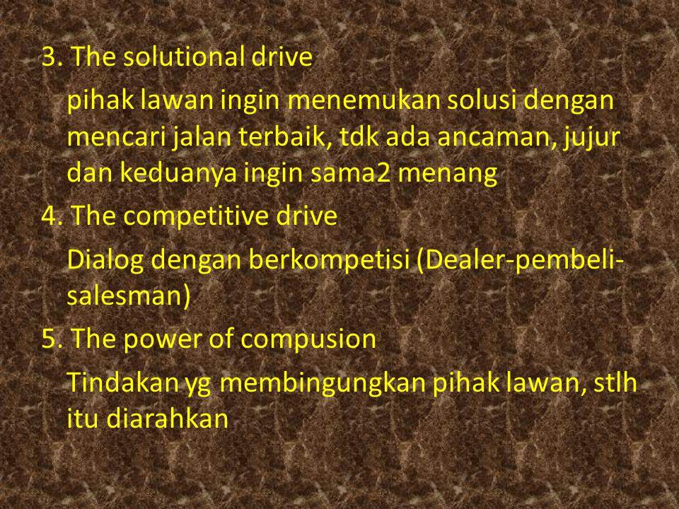 3. The solutional drive pihak lawan ingin menemukan solusi dengan mencari jalan terbaik, tdk ada ancaman, jujur dan keduanya ingin sama2 menang 4. The
