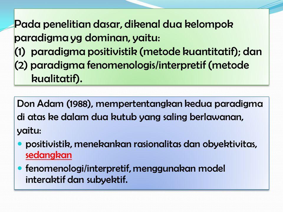 Metode Penelitian Tindakan Mendasarkan pd paradigma teori kritis, datang paling belakangan.
