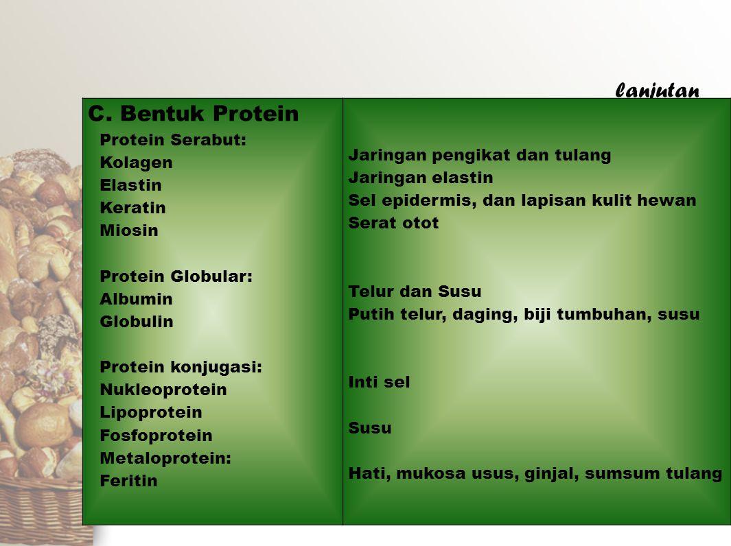 lanjutan C. Bentuk Protein Protein Serabut: Kolagen Elastin Keratin Miosin Protein Globular: Albumin Globulin Protein konjugasi: Nukleoprotein Lipopro