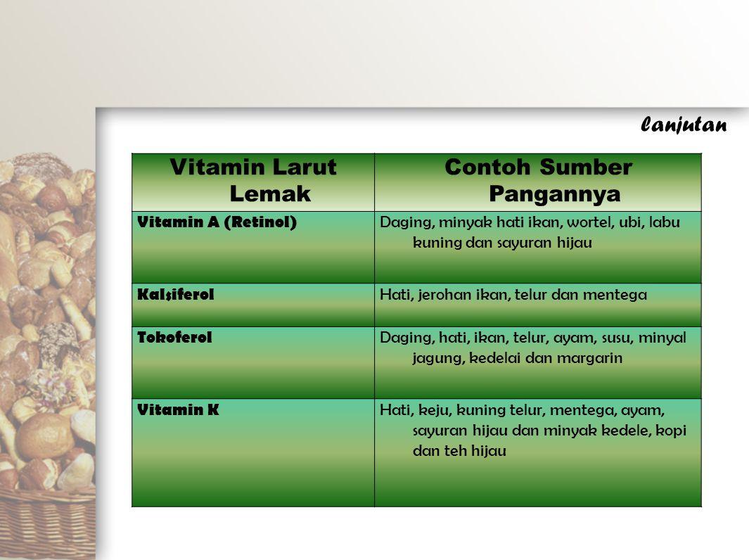 Vitamin Larut Lemak Contoh Sumber Pangannya Vitamin A (Retinol) Daging, minyak hati ikan, wortel, ubi, labu kuning dan sayuran hijau Kalsiferol Hati,