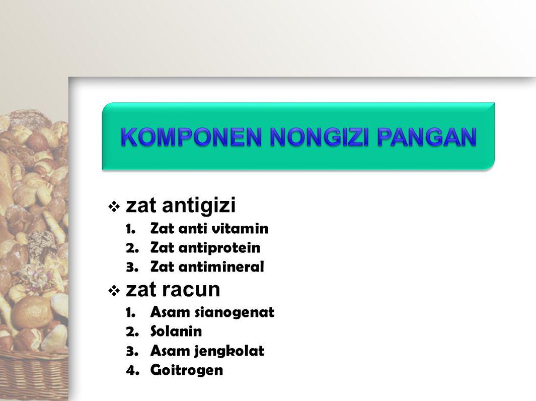  zat antigizi 1.Zat anti vitamin 2.Zat antiprotein 3.Zat antimineral  zat racun 1.Asam sianogenat 2.Solanin 3.Asam jengkolat 4.Goitrogen