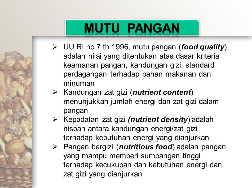 UU RI no 7 th 1996, mutu pangan (food quality) adalah nilai yang ditentukan atas dasar kriteria keamanan pangan, kandungan gizi, standard perdaganga