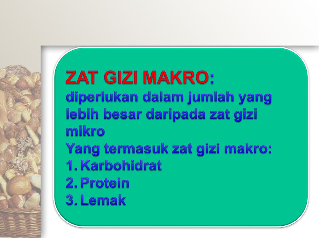 ENERGI DAN ZAT GIZI KEPADATAN ZAT GIZI, % AKG TelurIkanUdangKedeleLamtoroKoro Energi (kal)9,95,43,419,118,417,8 Karbohidrat (g)0,31,70,039,111,822,4 Protein (g)26,037,231,680,892,841,0 Lemak (g)20,41,50,322,37,25,5 Tiamin (mg)13,03,01,052,06,029,0 Riboflavin (mg)31,55,02,56,00* Niasin (mg)1,420,012,18,67,1* Vitamin C (mg)00001,01,7 Vitamin A (RE)7,501,80,8472,50 Kalsium (Ca, mg)13,87,311,324,715,116,7 Zat besi (Fe, mg)20,643,837,562,5145,638,8 Tabel.
