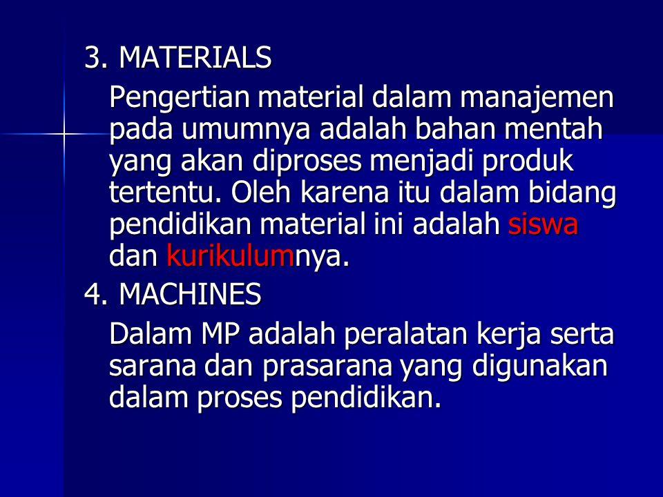 3. MATERIALS Pengertian material dalam manajemen pada umumnya adalah bahan mentah yang akan diproses menjadi produk tertentu. Oleh karena itu dalam bi