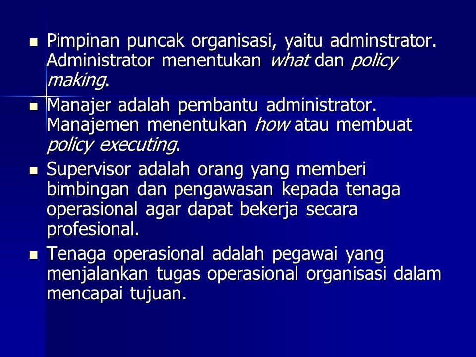 Pimpinan puncak organisasi, yaitu adminstrator. Administrator menentukan what dan policy making. Pimpinan puncak organisasi, yaitu adminstrator. Admin