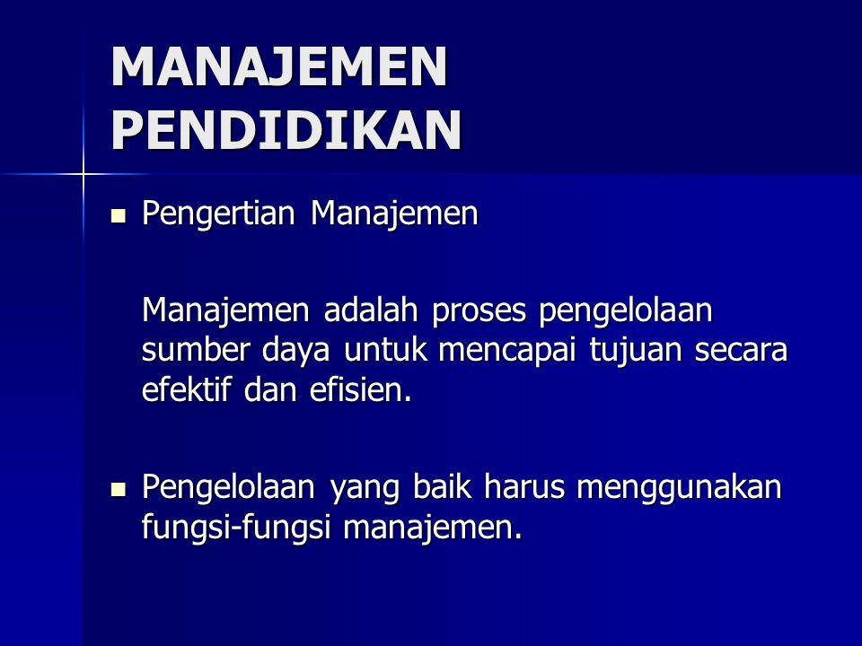 MANAJEMEN PENDIDIKAN Pengertian Manajemen Pengertian Manajemen Manajemen adalah proses pengelolaan sumber daya untuk mencapai tujuan secara efektif dan efisien.
