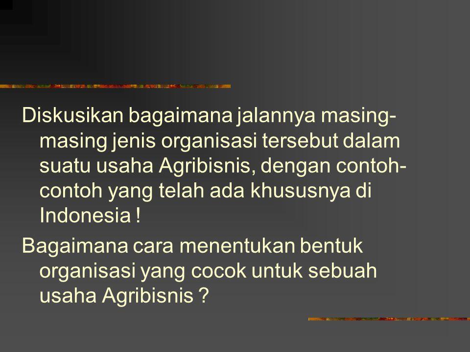 Diskusikan bagaimana jalannya masing- masing jenis organisasi tersebut dalam suatu usaha Agribisnis, dengan contoh- contoh yang telah ada khususnya di