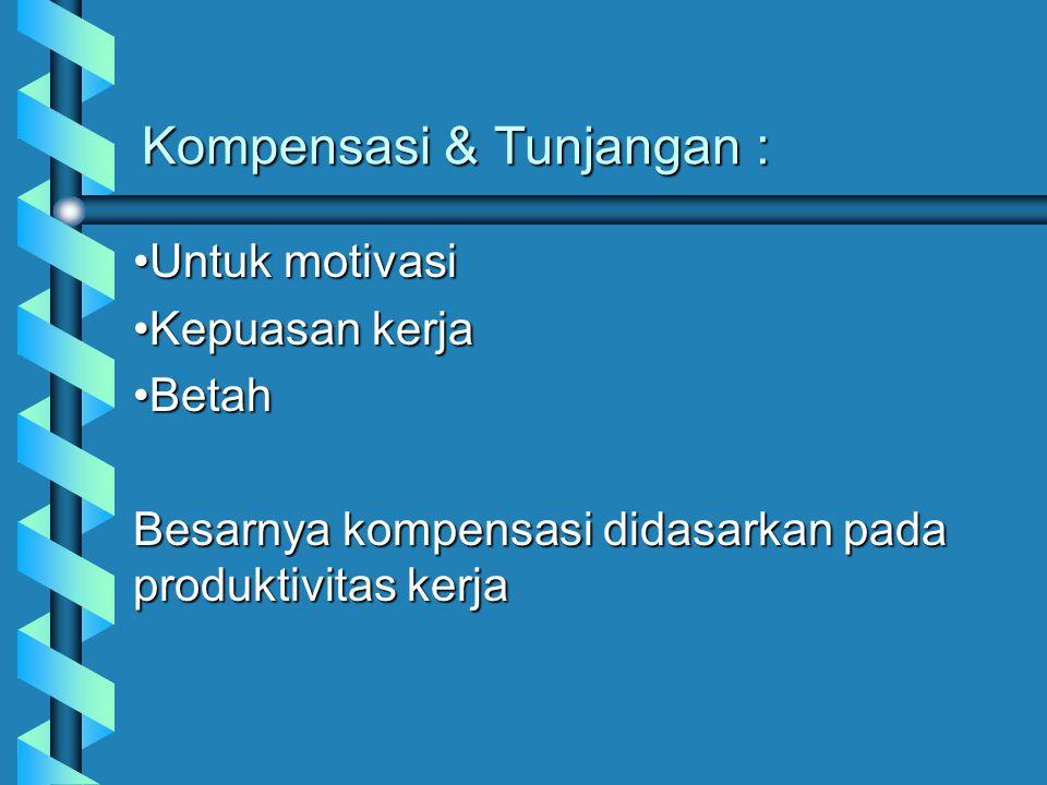 Kompensasi & Tunjangan : Untuk motivasiUntuk motivasi Kepuasan kerjaKepuasan kerja BetahBetah Besarnya kompensasi didasarkan pada produktivitas kerja
