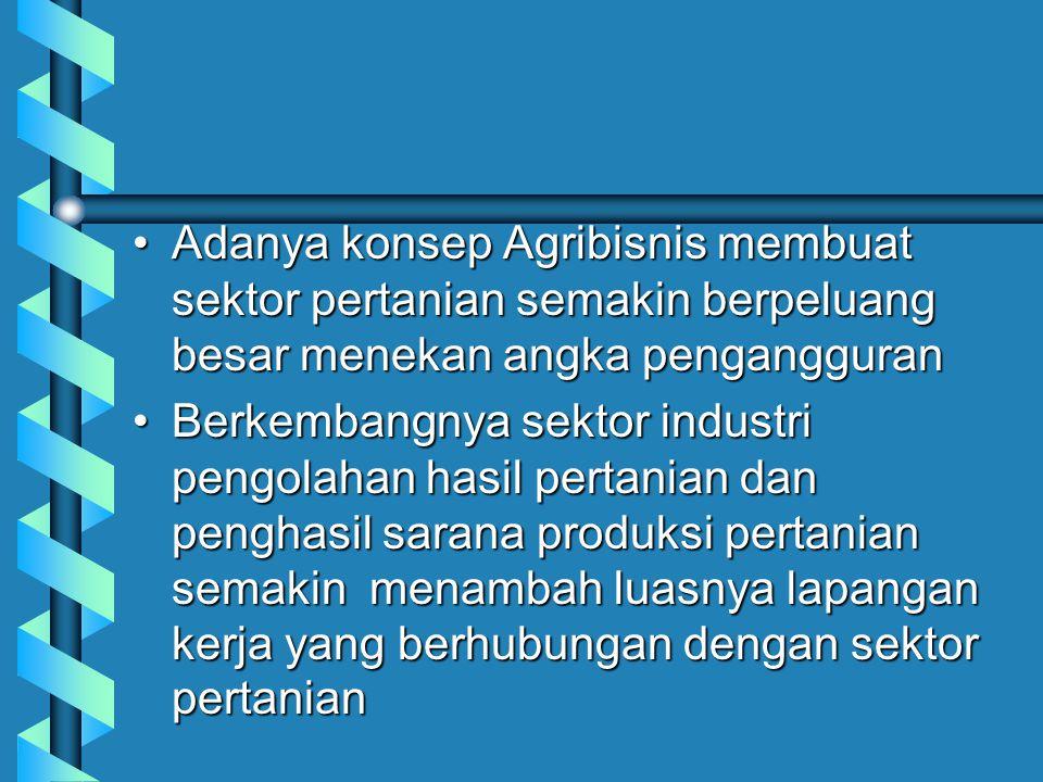Adanya konsep Agribisnis membuat sektor pertanian semakin berpeluang besar menekan angka pengangguranAdanya konsep Agribisnis membuat sektor pertanian