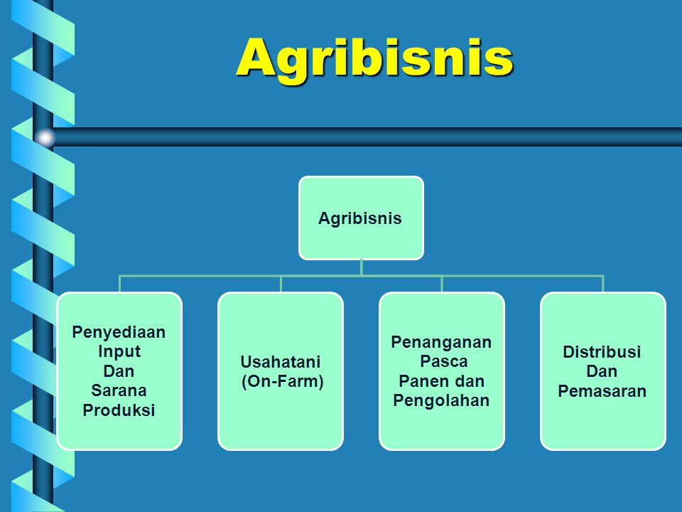 Agribisnis Agribisnis Penyediaan Input Dan Sarana Produksi Usahatani (On-Farm) Penanganan Pasca Panen dan Pengolahan Distribusi Dan Pemasaran