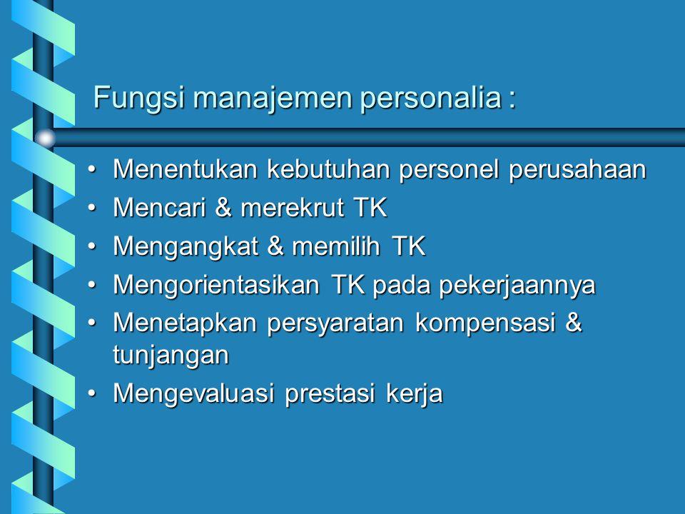 Fungsi manajemen personalia : Menentukan kebutuhan personel perusahaanMenentukan kebutuhan personel perusahaan Mencari & merekrut TKMencari & merekrut