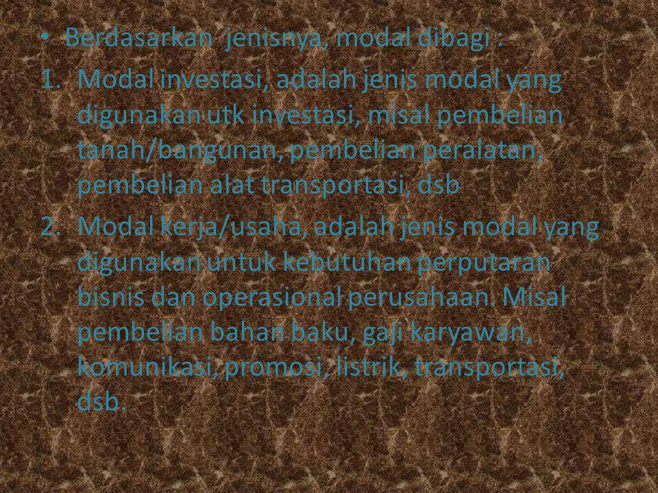BAB.CARA MEMPEROLEH MODAL Berdasarkan bentuknya,modal dibagi : 1.
