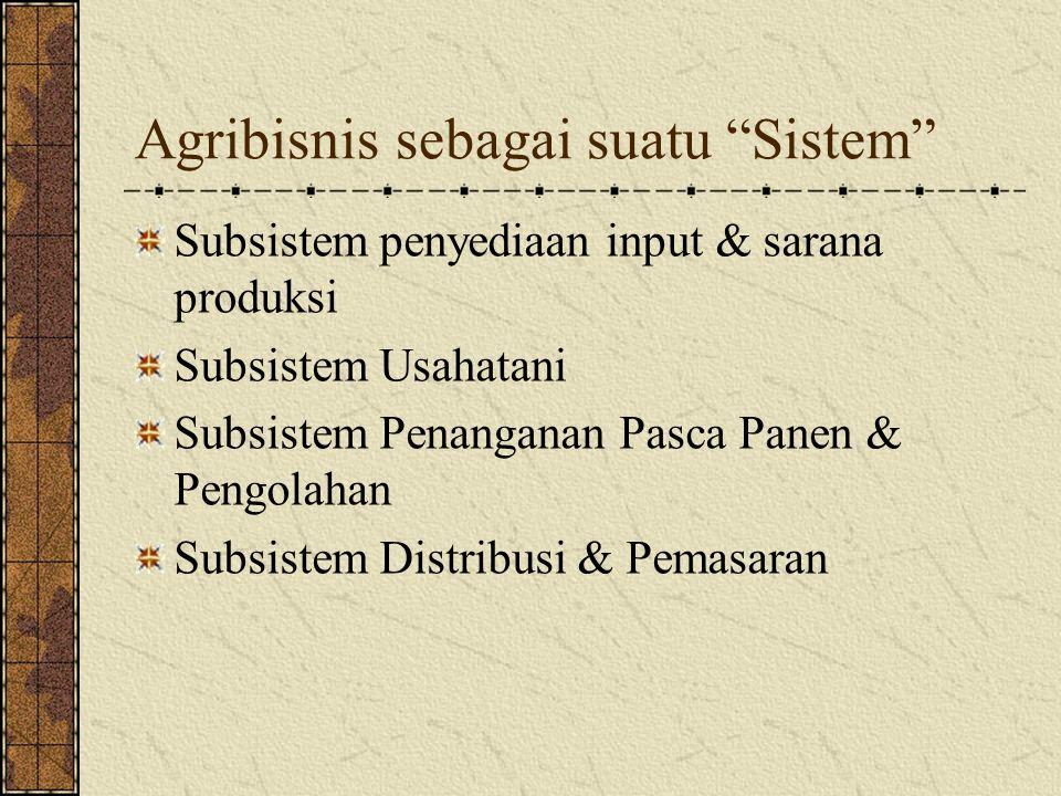 Agribisnis sebagai suatu Sistem Adanya kaitan antar subsistem yang menjadi bagian dari Agribisnis yang saling mendukung satu sama lain Apabila terjadi kendala pada satu subsistem akan mempengaruhi kinerja subsistem yang lain