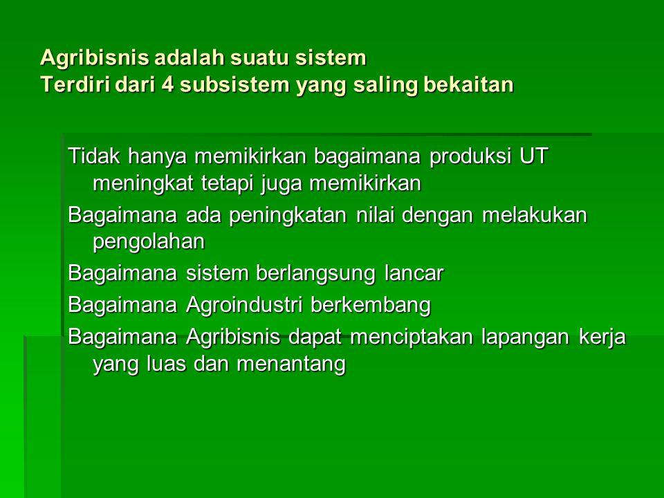 Agribisnis adalah suatu sistem Terdiri dari 4 subsistem yang saling bekaitan Tidak hanya memikirkan bagaimana produksi UT meningkat tetapi juga memiki
