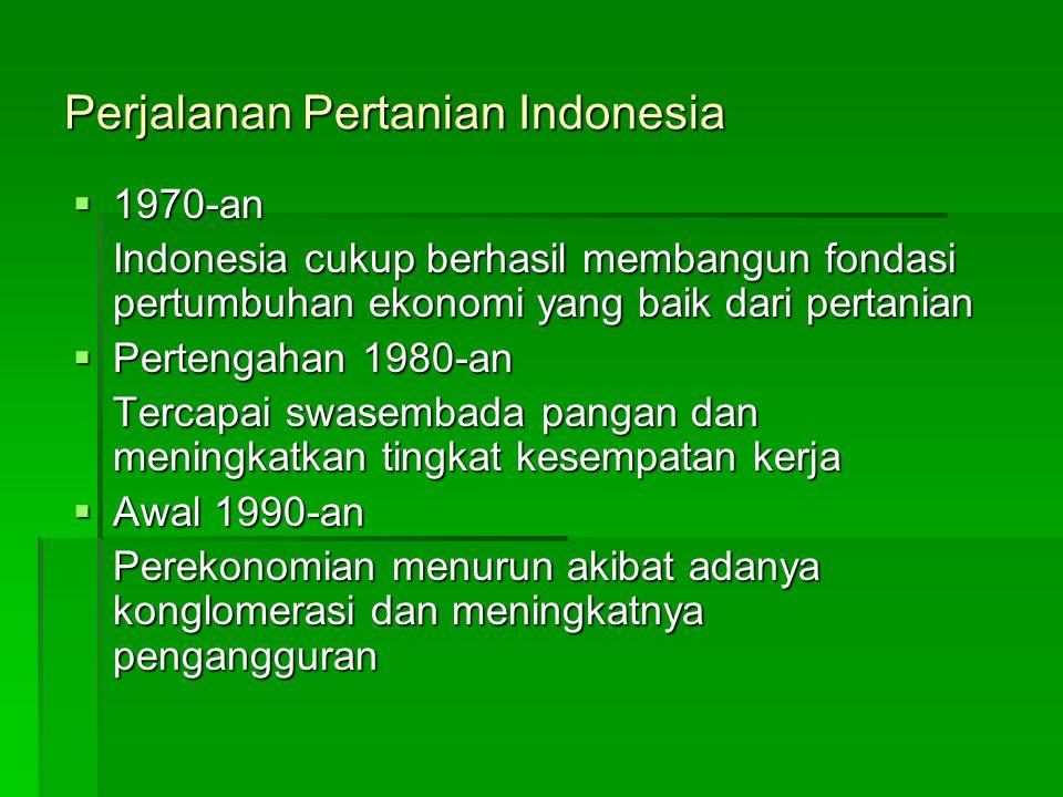 Perjalanan Pertanian Indonesia  1970-an Indonesia cukup berhasil membangun fondasi pertumbuhan ekonomi yang baik dari pertanian  Pertengahan 1980-an