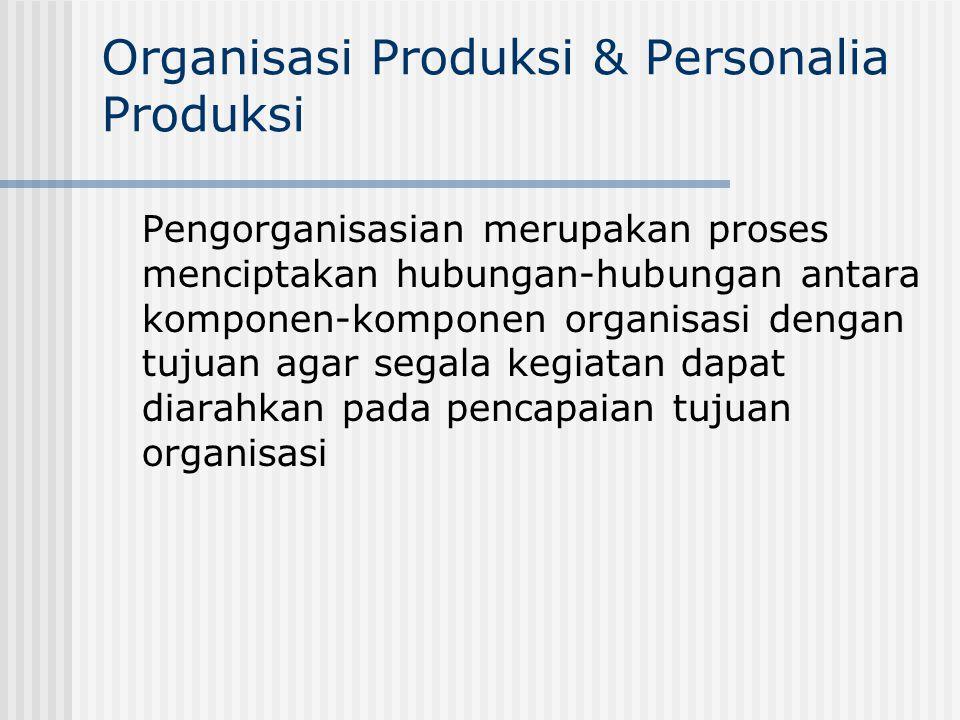 Organisasi Produksi & Personalia Produksi Pengorganisasian merupakan proses menciptakan hubungan-hubungan antara komponen-komponen organisasi dengan t