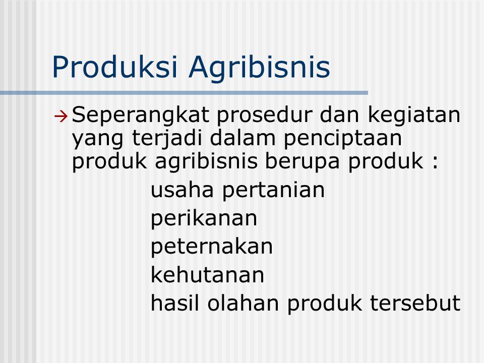 Produksi Agribisnis  Seperangkat prosedur dan kegiatan yang terjadi dalam penciptaan produk agribisnis berupa produk : usaha pertanian perikanan pete