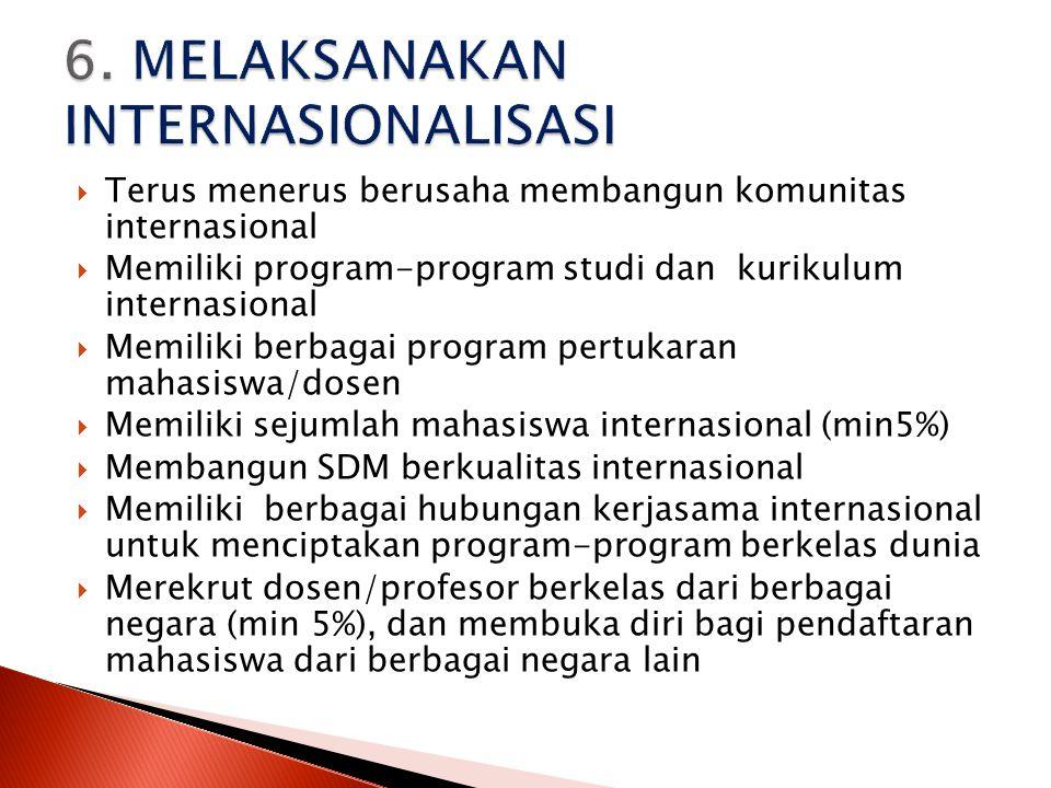  Terus menerus berusaha membangun komunitas internasional  Memiliki program-program studi dan kurikulum internasional  Memiliki berbagai program pe