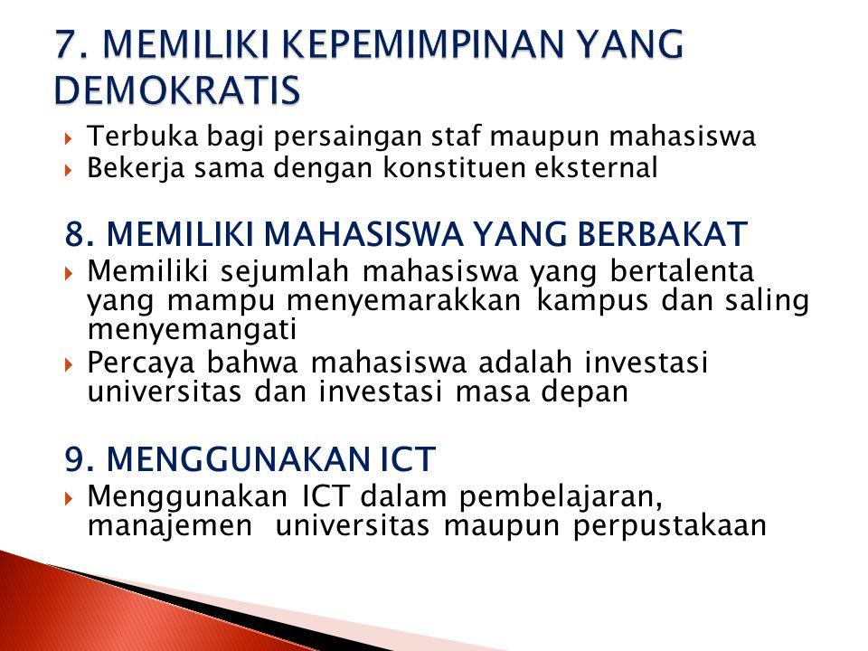  Terbuka bagi persaingan staf maupun mahasiswa  Bekerja sama dengan konstituen eksternal 8. MEMILIKI MAHASISWA YANG BERBAKAT  Memiliki sejumlah mah