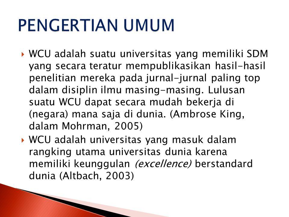  Menuju WCU bukan pekerjaan yang mudah.