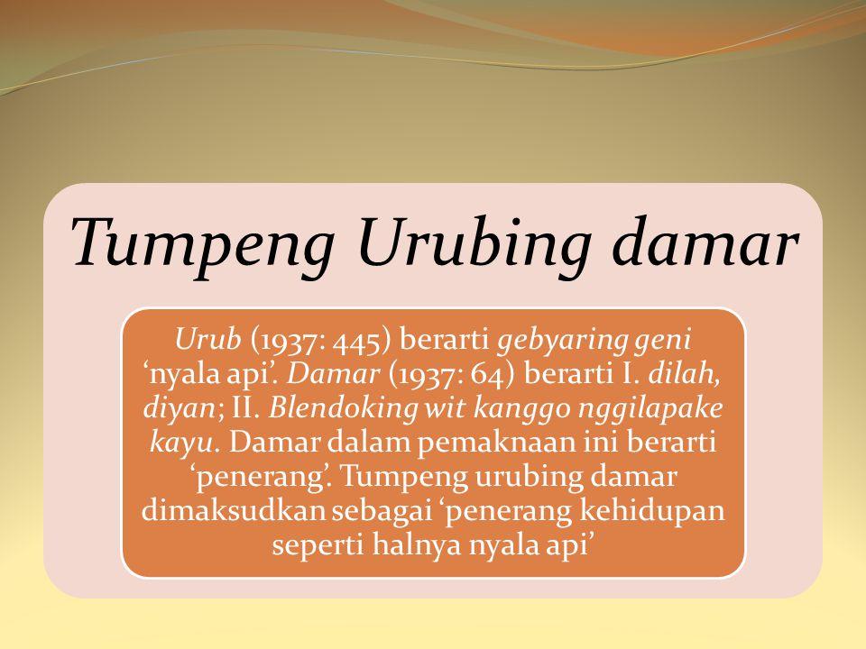 Tumpeng Urubing damar Urub (1937: 445) berarti gebyaring geni 'nyala api'. Damar (1937: 64) berarti I. dilah, diyan; II. Blendoking wit kanggo nggilap