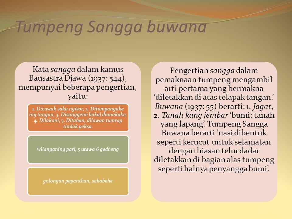 Tumpeng Sangga buwana Kata sangga dalam kamus Bausastra Djawa (1937: 544), mempunyai beberapa pengertian, yaitu: 1. Dicuwak saka ngisor, 2. Ditumpanga
