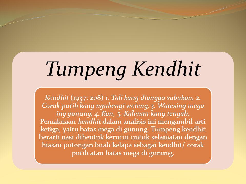 Tumpeng Kendhit Kendhit (1937: 208) 1. Tali kang dianggo sabukan, 2. Corak putih kang ngubengi weteng, 3. Watesing mega ing gunung, 4. Ban, 5. Kalenan