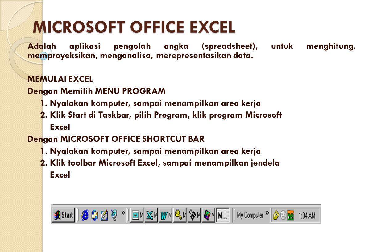MICROSOFT OFFICE EXCEL Adalah aplikasi pengolah angka (spreadsheet), untuk menghitung, memproyeksikan, menganalisa, merepresentasikan data. MEMULAI EX