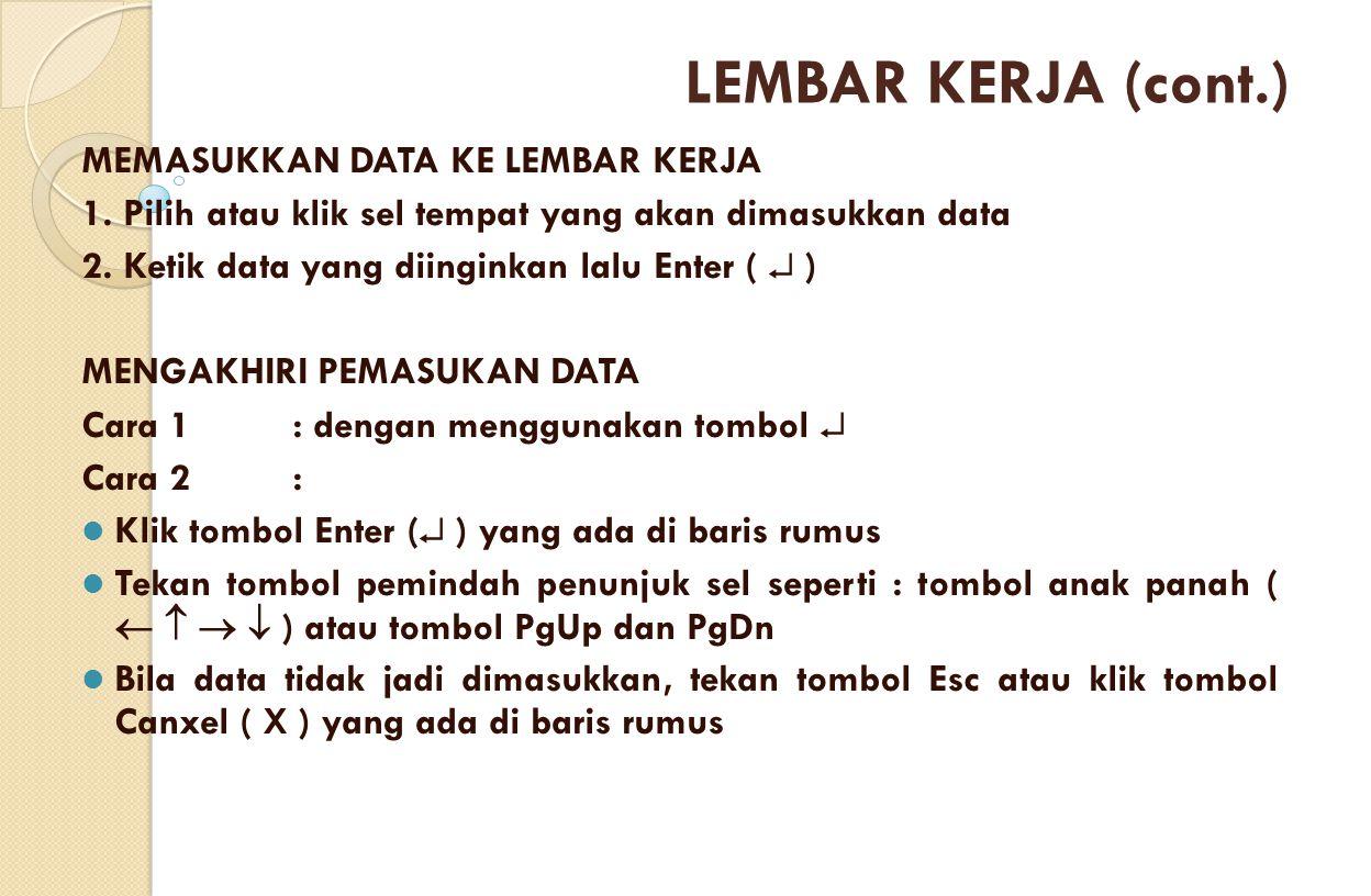 MEMASUKKAN DATA KE LEMBAR KERJA 1. Pilih atau klik sel tempat yang akan dimasukkan data 2. Ketik data yang diinginkan lalu Enter (  ) MENGAKHIRI PEMA