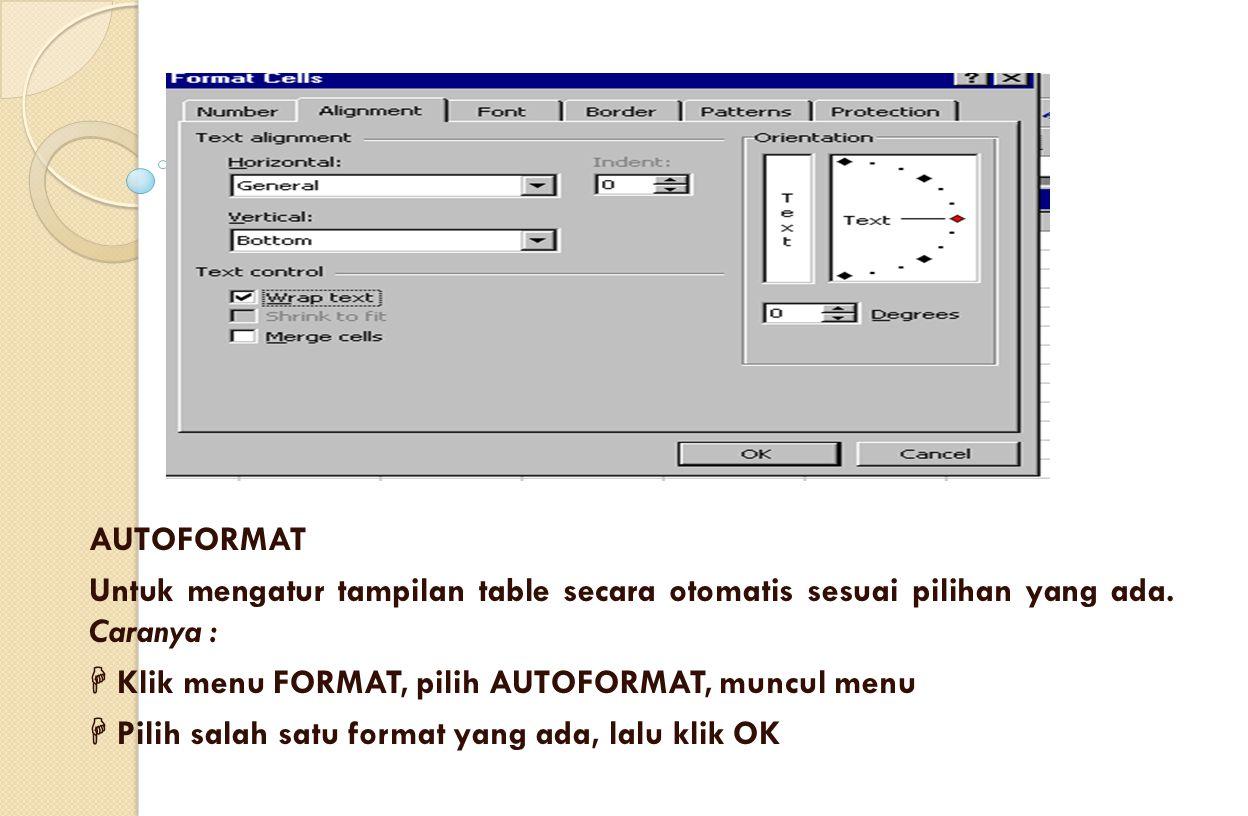 AUTOFORMAT Untuk mengatur tampilan table secara otomatis sesuai pilihan yang ada. Caranya :  Klik menu FORMAT, pilih AUTOFORMAT, muncul menu  Pilih