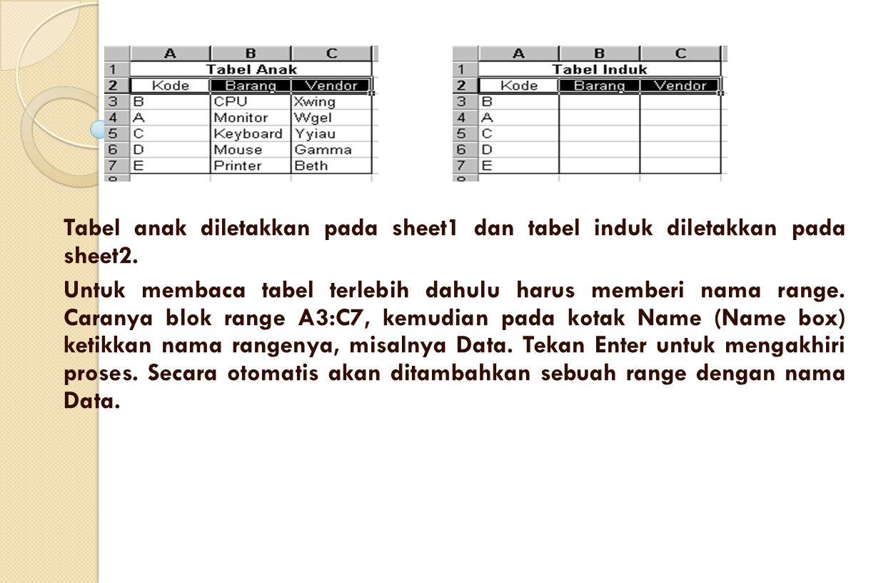 Tabel anak diletakkan pada sheet1 dan tabel induk diletakkan pada sheet2. Untuk membaca tabel terlebih dahulu harus memberi nama range. Caranya blok r