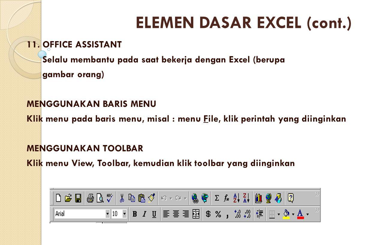 11. OFFICE ASSISTANT Selalu membantu pada saat bekerja dengan Excel (berupa gambar orang) MENGGUNAKAN BARIS MENU Klik menu pada baris menu, misal : me