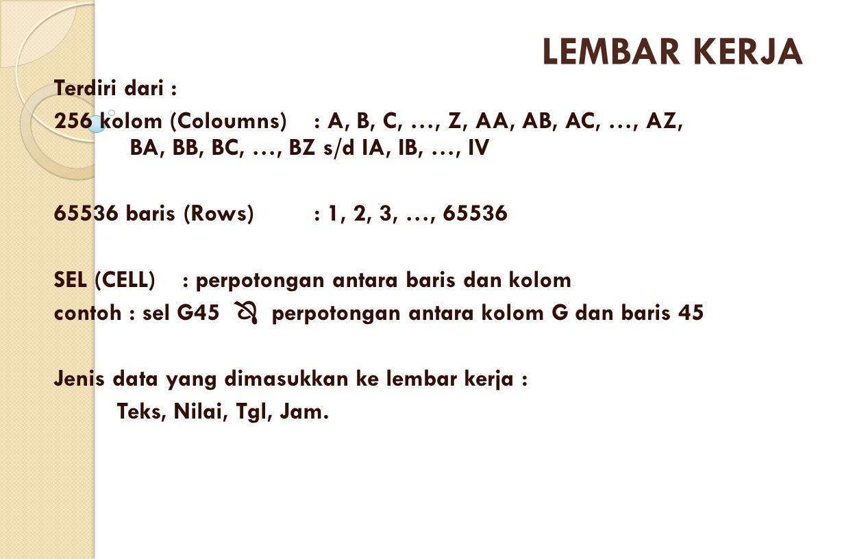 Terdiri dari : 256 kolom (Coloumns) : A, B, C, …, Z, AA, AB, AC, …, AZ, BA, BB, BC, …, BZ s/d IA, IB, …, IV 65536 baris (Rows) : 1, 2, 3, …, 65536 SEL