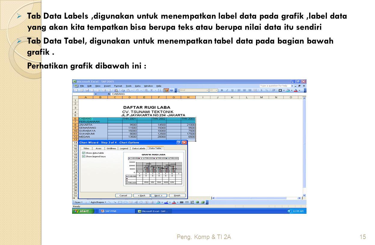  Tab Data Labels,digunakan untuk menempatkan label data pada grafik,label data yang akan kita tempatkan bisa berupa teks atau berupa nilai data itu s