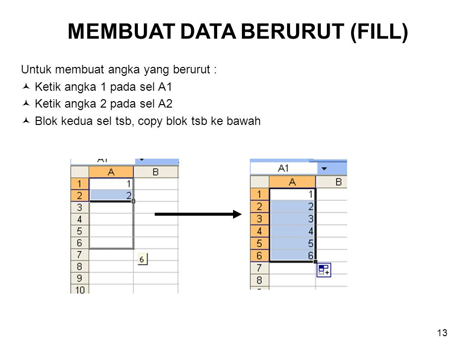 13 Untuk membuat angka yang berurut : Ketik angka 1 pada sel A1 Ketik angka 2 pada sel A2 Blok kedua sel tsb, copy blok tsb ke bawah MEMBUAT DATA BERU