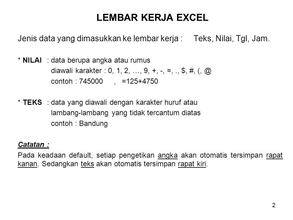 2 Jenis data yang dimasukkan ke lembar kerja : Teks, Nilai, Tgl, Jam. * NILAI: data berupa angka atau rumus diawali karakter : 0, 1, 2, …, 9, +, -, =,
