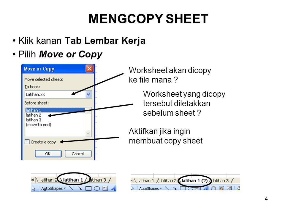 4 MENGCOPY SHEET Klik kanan Tab Lembar Kerja Pilih Move or Copy Aktifkan jika ingin membuat copy sheet Worksheet akan dicopy ke file mana ? Worksheet