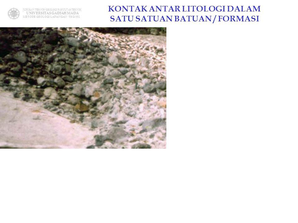JURUSAN TEKNIK GEOLOGI FAKULTAS TEKNIK UNIVERSITAS GADJAH MADA METODE GEOLOGI LAPANGAN TKG 352 KONTAK ANTAR LITOLOGI DALAM SATU SATUAN BATUAN / FORMAS