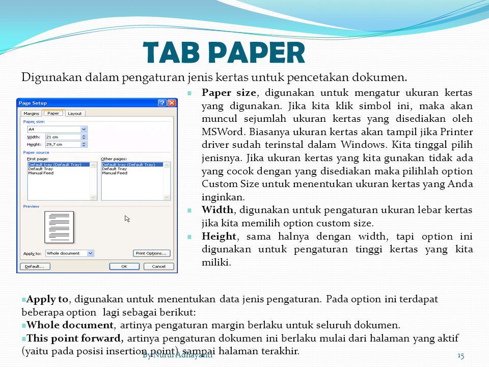 TAB PAPER Paper size, digunakan untuk mengatur ukuran kertas yang digunakan. Jika kita klik simbol ini, maka akan muncul sejumlah ukuran kertas yang d