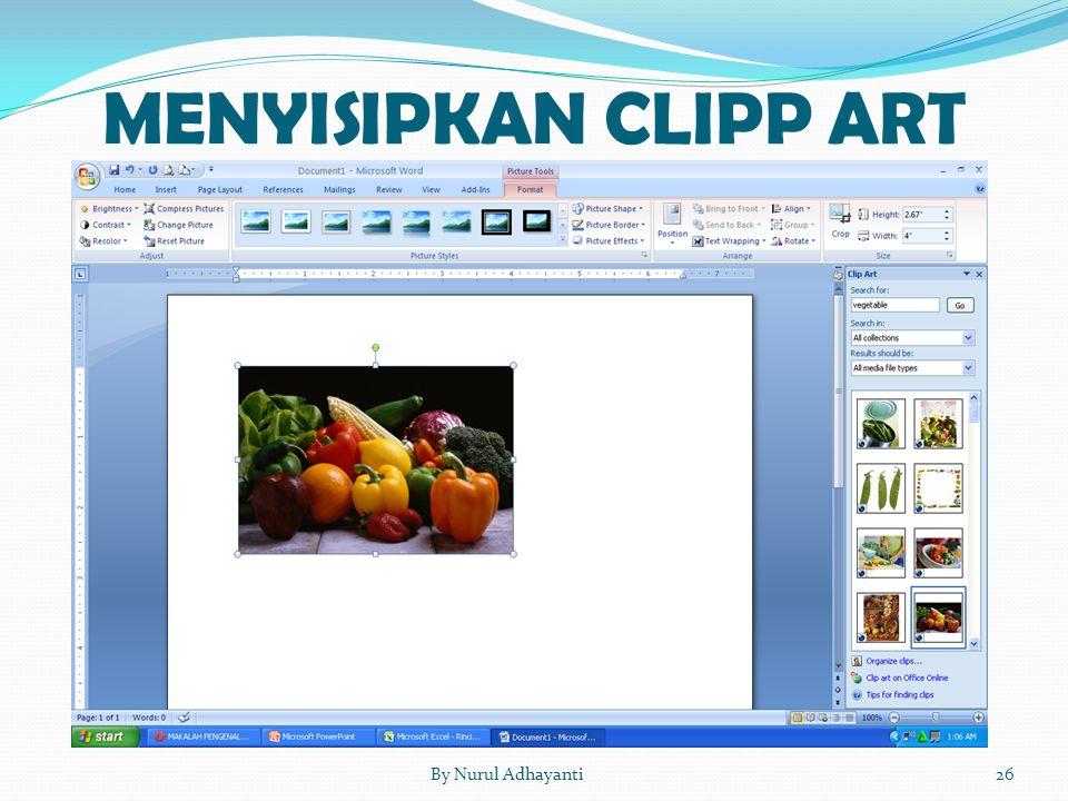 MENYISIPKAN CLIPP ART 26By Nurul Adhayanti