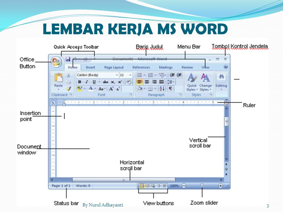 LEMBAR KERJA MS WORD 3By Nurul Adhayanti