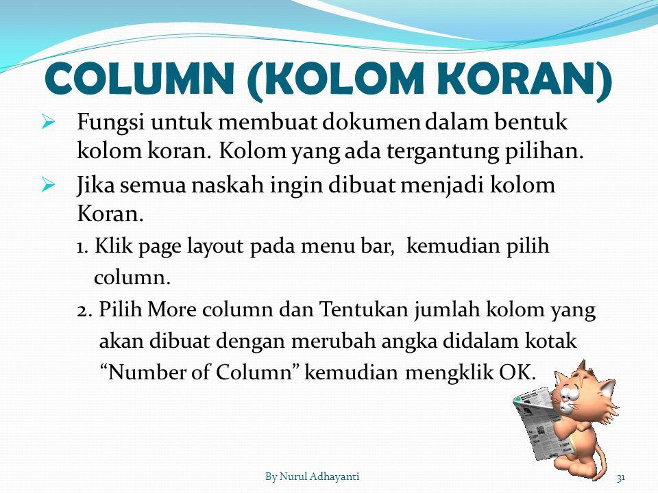 COLUMN (KOLOM KORAN)  Fungsi untuk membuat dokumen dalam bentuk kolom koran. Kolom yang ada tergantung pilihan.  Jika semua naskah ingin dibuat menj